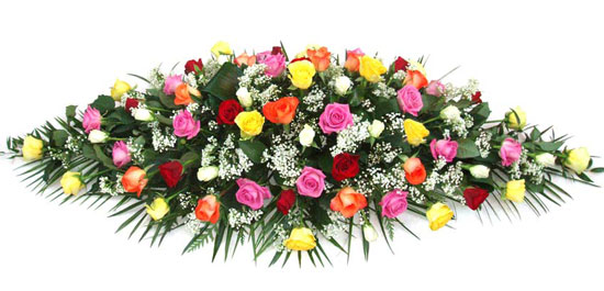 Funeral Coffin Spray Mixes Roses.