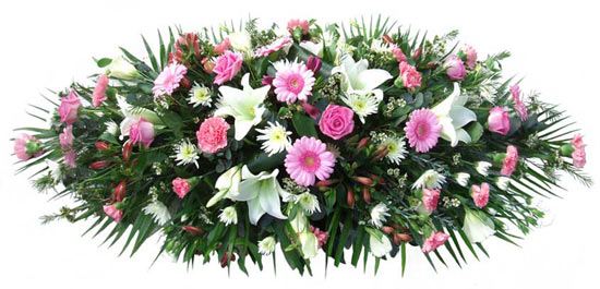 Funeral Coffin Spray Pink and White.