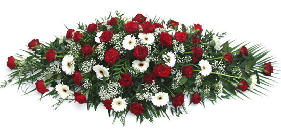 Funeral Coffin Spray Red and White.