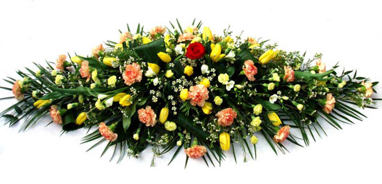 Funeral Coffin Spray Yellow and Orange